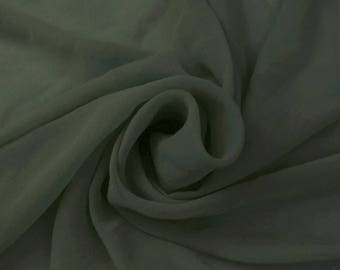 ARMY GREEN Solid Hi-Multi Chiffon Washed Fabric by the Yard - Style 501