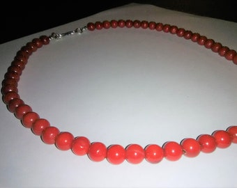 Red Coral Sterling Silver Gemstone Necklace 19.5 inches long