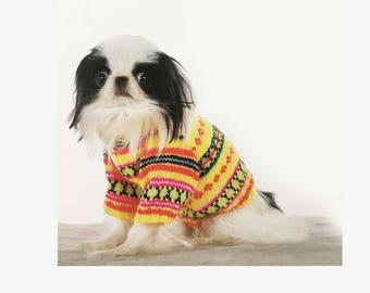 Colorful Dog Sweater All Sizes , Knitting Pattern