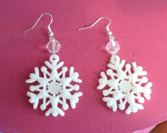Glitter Snowflake Dangle Earrings, White Snowflake Earrings, Winter Earrings, Winter Jewelry, Christmas Gift, Gift For Her - Crystal Clear