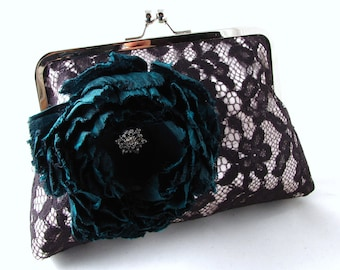 15% OFF SALE - Black lace clutch with teal green silk flower / brooch / elegant evening purse