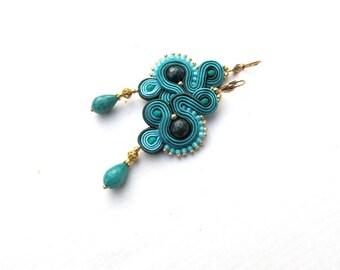 Long Dangle Drop Earrings, Deep Teal Soutache Earrings, Handmade Soutache Jewelry with Gemstones, Drop Earings, Teal Earrings