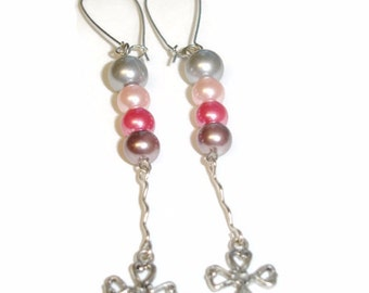 Pearl Cross Earrings Long Earrings Pink Pearls Cross Dangle Pink and Silver Cross Earrings Dangle Cross Earrings Christian jewelry Faith