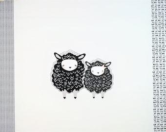 "0,9 m Cotton Fabric "" Cuddly Sheep"" 114 cm wide"