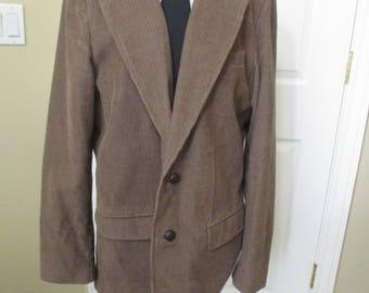 Mens Sport Coat, Blazer, Jacket Brown Corduroy Elbow Patch size 44 Tall L L Bean