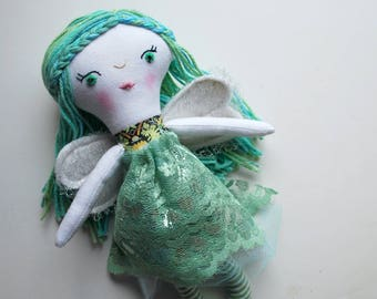 Fairy Doll with Seafoam Green Hair - Liberty of London - Dolly - Angel- Beautiful - Heirloom - Magical Creature - Faeries - Tooth Fairy