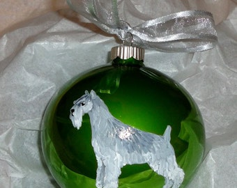 Standard Schnauzer Dog Hand Painted Christmas Ornament - Can Be Personalized with Name