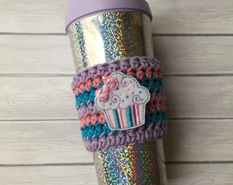 Coffee cozy, cupcake, coffee sleeve, crochet coffee cozy, coffee, cup cozy, cozy, cupcake coffee cozy, cupcake cozy, coffee cup cozy