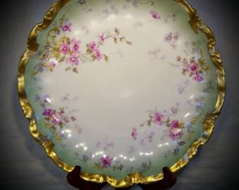Limoges France Fine Porcelain Charger ca. 1900 - Flawless Collectors Plate, LS&S Importer mark