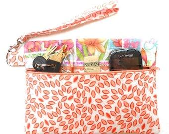 Peach Wristlet, Pastel Floral Clutch Bag, Cell Phone Wallet, Front Zippered Purse, Makeup or Camera Pouch, Small Zipper Bag, Wristlet Bag