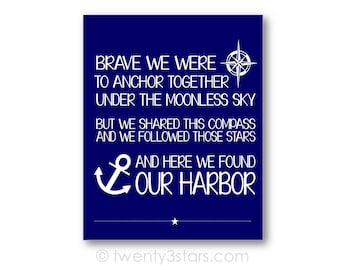 Anchored Love Nautical Poster, with Compass and Anchor, for Bedroom, Living Room or Kitchen Wall Art, Anchor Wedding Art, Anchor Canvas Art
