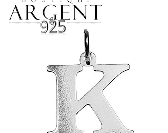 Silver 925 charm letter K initial name