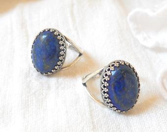 bohemian ring adjustable lapis lazuli ring gemstone jewelry gemstone ring silver ring silverplated lapis ring blue ring blue stone ring