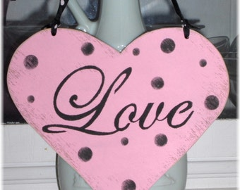 Valentine Heart Love Pink Shabby Chic Cottage Wood Sign With Black Polka Dots Custom Colors