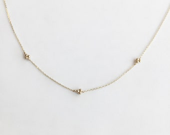 14K Gold Necklace, Yellow Gold Necklace, Doggie-Track Necklace