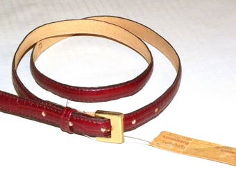 """1970s Skinny Belt / Red Alligator Leather / New Old Stock Original Tags / The Leather Shop Robinsons / L Fits 30.75"""" - 34.5"""""""