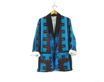 Vintage Southwestern Navajo Blazer Coat Slouchy Oversized Tribal Jacket Blue Cotton Ethnic Print Womens size Large Dell's