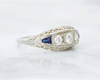 Filigree Engagement Ring | Antique Diamond and Sapphire Ring 0.30 CTW | 1920s Art Deco | Three Stone Ring | Blue Gem Fine Jewelry |Size 5.25