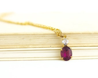 Purple Burgundy Pendant Necklace - Burgundy Jewels - Jewel Pendant - Burgundy Wedding Necklace - Bridesmaids Gifts - Gift For Her