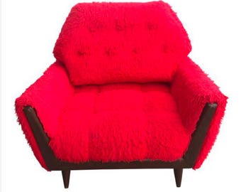 Mid-Century Shag Red Furry Chair