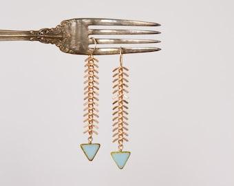 Fisherman's Daughter Chevron Earrings - Blue Triangle and Fish Spine Chain Drop Earrings, Tribal Fish Bone Chain, Chevron by Prairieoats