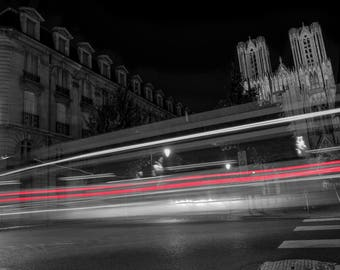 Reims, France, Reims Cathedral, Long Exposure,Fine Art Photography, Night Photography