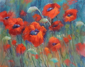 Original Pastel Painting Poppy Red Poppies  floral 18x24 by Karen Margulis psa