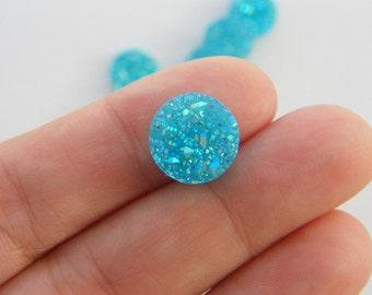 10 Blue resin druzy cabochon 12mm FS126