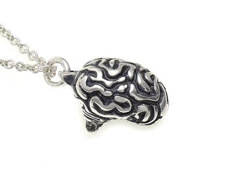 Sterling Silver Brain Necklace, Human Anatomy Jewelry