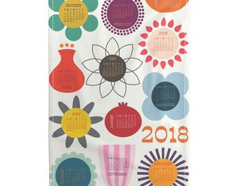 Tea Towel Calendar Set - Blooms All Year 2018 tea towel calendar by Katerhees -  Linen Cotton Tea Towel Set by Roostery with Spoonflower