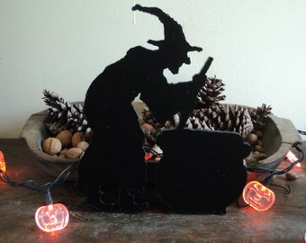 Halloween Witch with Cauldron Cutout