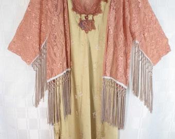 Flapper Chic Garment Dyed Bias Cut Hi-Low Hem Lace Trim Slip Dress & Fringed Jacket Medium