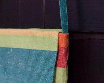 bright stripy emerald (or autumn shade), small crossbody flap purse in vintage cotton linen canvas
