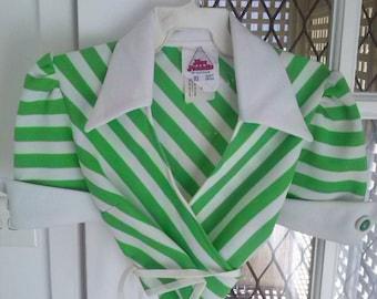 Vintage 1970s Wrap Around Girls Stripped Crop Top Size 10AU