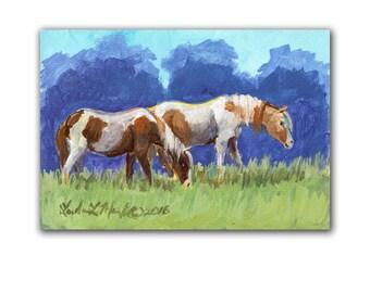Horses  Artwork  Acrylic LLMartin Original Watercolor Painting Virginia Country  Free Shipping USA