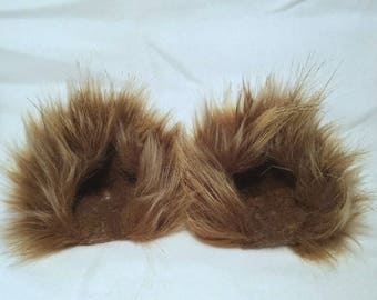 Wolf Brown ears / Brown kitty cat ears / clip on / Barrettes / costume ears with or without tail
