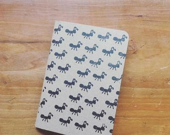 Ant Pocket Notepad - Hand Stamped - USA Made - 100% Recycled Paper