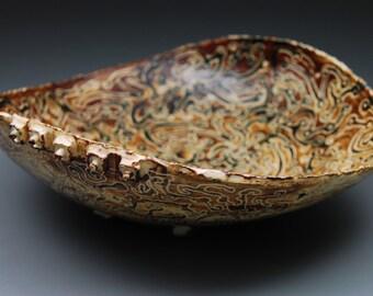 Malmsey Mambo - handmade ceramic bowl, ceramic bowl, pottery bowl, sgraffito, serving bowl, home decor, handmade brown pottery bowl, gift