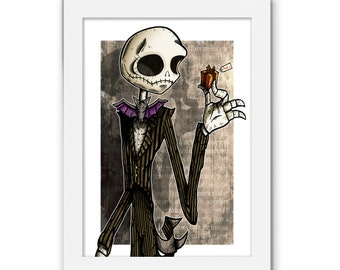 Jack Skellington Print, Halloween Art, Scary Picture, Tim Burton Gift, Nightmare Before Christmas, Xmas Present, Gothic