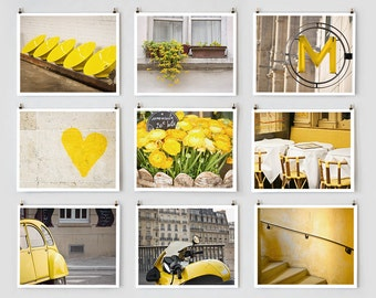 Fine Art Photography, Paris Gallery Wall Prints, Yellow Wall Art, Paris Photography Extra Large Prints, Mom Gift for Her