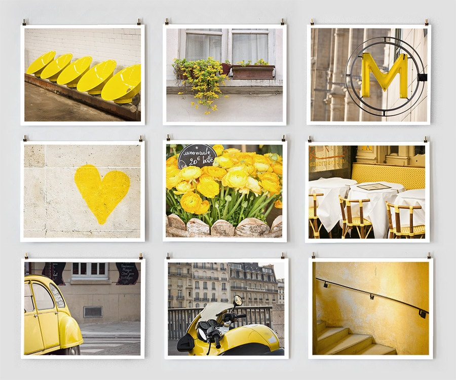 Fine Art Photography, Paris Gallery Wall Prints, Yellow Wall Art ...