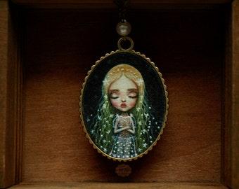 Elven Princess,  art print pendant necklace. Fairy tale lowbrow art. pop surrealism art by Karolin Felix