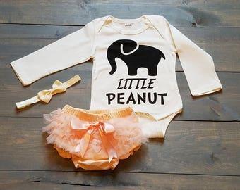 Infant Baby Girl Outfit 3 Piece Set, Peanut, TUTU, Romper, Diaper Cover #G-20