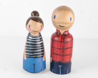 Custom Peg Couple, Anniversary Gift for Her, Gift for Girlfriend, Gift for Boyfriend, people figurines, wooden peg family, anniversary gifts
