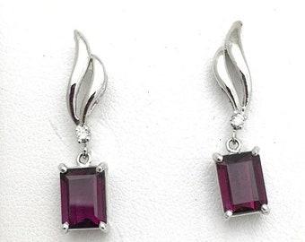 4 Carat Rare Purple Garnet Drop Earrings - January Birthstone - 14k White Gold
