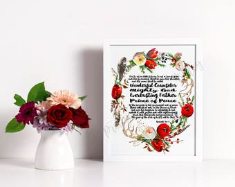 Isaiah 9, Print, watercolor, wall art, floral, bible verse print, scripture, typography, wreath, Christmas