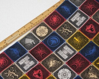 1/2 Yard Game of Thrones Cotton Fabric House Sigils