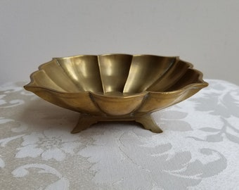 Vintage Footed Brass Bowl Small Curved Sculptural Rectangle, Soap Candy Jewelry Catch All Gold Metal Dish Made in India, Bohemian Decor