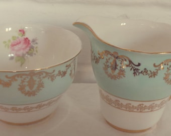 Very Pretty Leonard St Pottery Aqua Turquoise and Gold Detail Bone China Creamer and Sugar Bowl -  Perfect for afternoon, vintage tea set