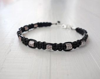 Black leather bracelet metal beads cuff mens leather bracelet unisex cuff bracelet for men for women
